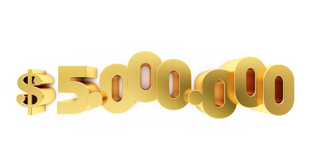 3d render of a golden five million ( 5000000 )  dollars. 5m dollars, 5m $