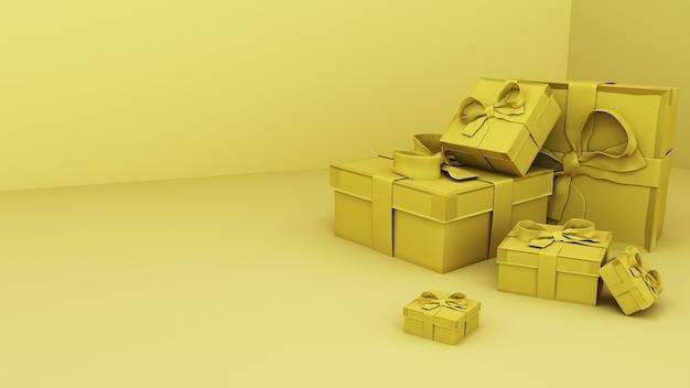 3dレンダリング。黄色い部屋にある金色のギフトボックス。