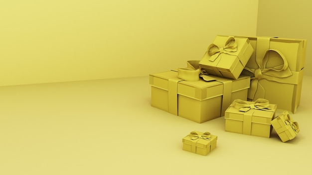 3d render. golden gift boxes in the yellow room.