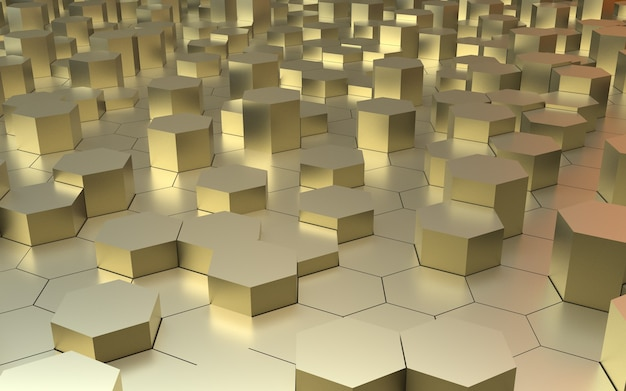3d 렌더링 황금 육각 추상적 인 배경