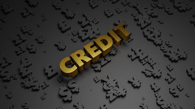 3d render of golden metallic credit text on dark currency background.