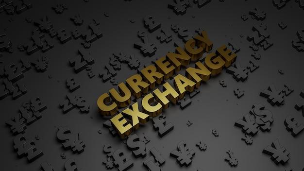 3d render of golden metallic currency exchange text on dark currency background.