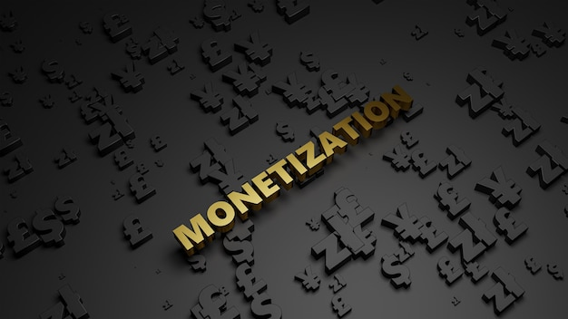 3d render of golden metallic monetization text on dark currency background.