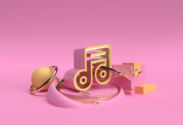 3d визуализация золотая музыкальная нота. отображение рекламы продуктов. флаер дизайн иллюстрации плаката.