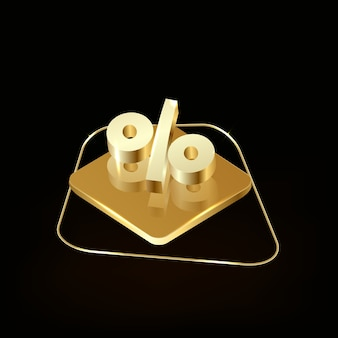 3d render golden percentage icon isolated on black background