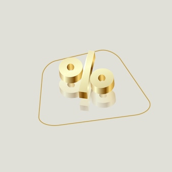 3d render golden percentage icon isolated on light background