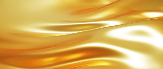 3d render of golden silk cloth. iridescent holographic foil. abstract art fashion background.