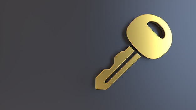 3d render golden symbol key