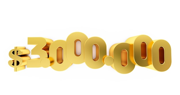 3d render of a golden three million ( 3000000 )  dollars. 3m dollars, 3m $