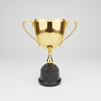 3d render. golden trophy on white wall.