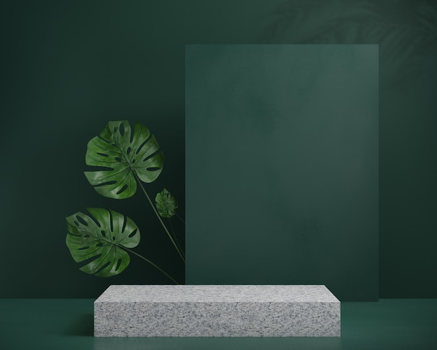3d render granite podium with shadow leaf palm and green background, abstract background, for show cosmetic, display or showcase.
