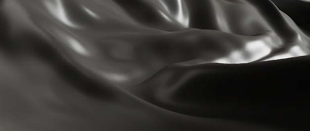 3d render of gray and black cloth. iridescent holographic foil. abstract art fashion background.
