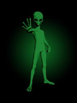 3d render of a green alien figure
