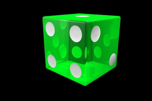 3dレンダリンググリーンカジノダイス。黒の背景に分離されたポーカーキューブ。