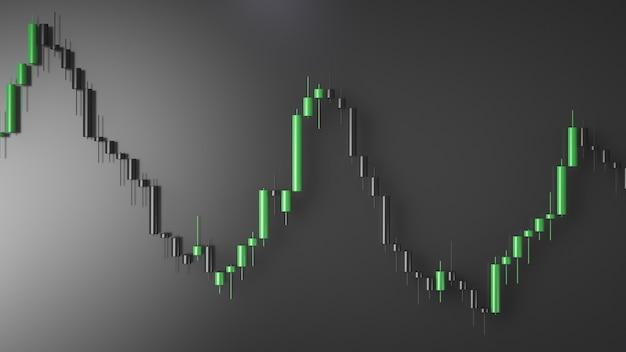 3d визуализация зеленого графика нисходящей тенденции на сером фоне