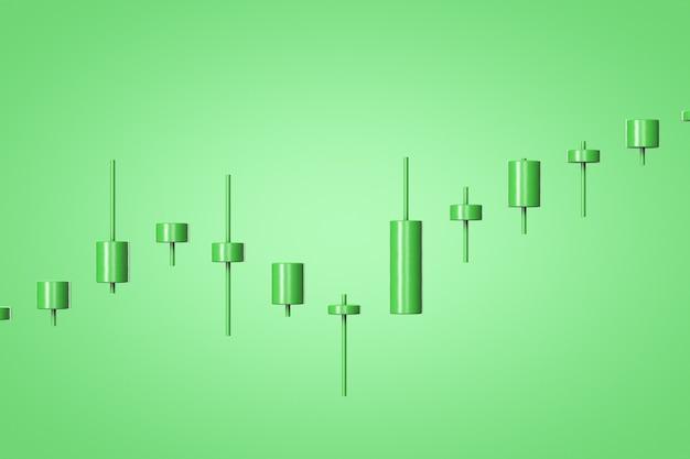 3d визуализация зеленой растущей диаграммы котировок на зеленом фоне