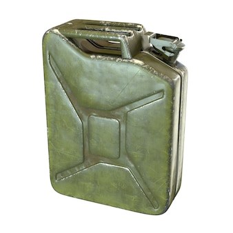 3d render of green jerrycan isolated on white background