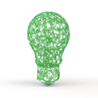 白い背景で隔離の幾何学的な多角形の神経叢スタイルで3dレンダリング緑色の電球