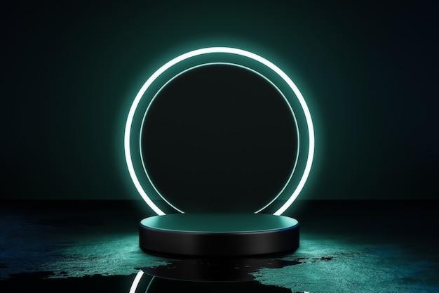 3d визуализация зеленый неоновый свет продукт фон этап или пьедестал подиума.