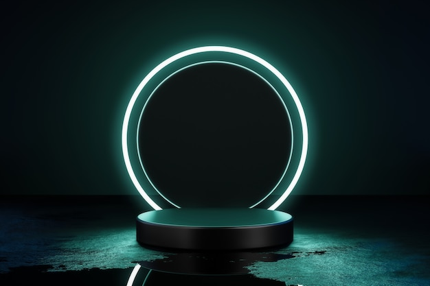 3d render green neon light product background stage or podium pedestal.