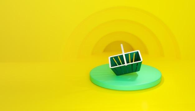 3d визуализация. зеленая корзина для покупок на подиуме на желтом фоне.
