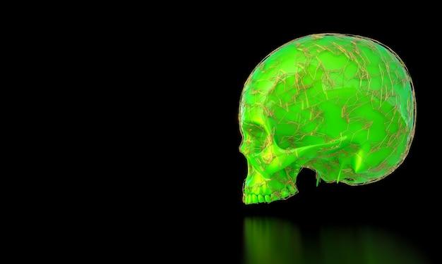 3d визуализация зеленого черепа с золотой рамкой в стиле сплетения на черном фоне