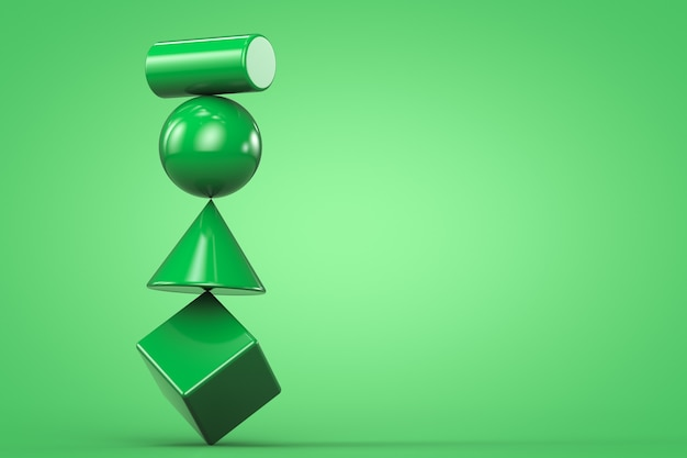 3d render green unstable balancing structure with geometric shapes on green background