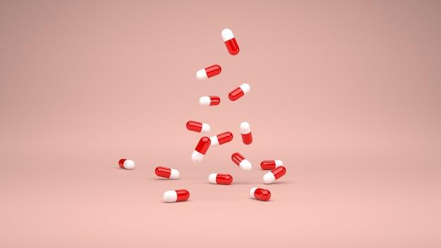 3d 렌더링입니다. 계단식 빨간색과 흰색 약 캡슐의 그룹입니다. 파스텔 색상 배경