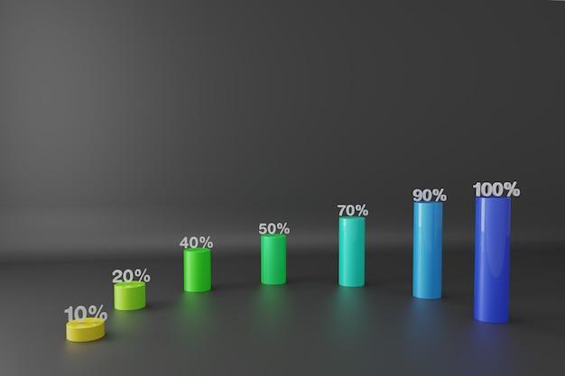 3dレンダリング成長棒グラフ
