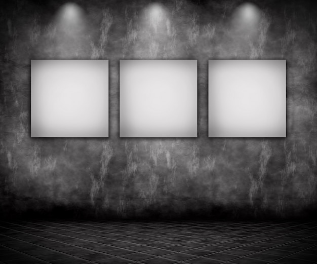3d render of a grunge interior with blank pictures under spotlights