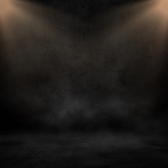 3d render of a grunge interior with spotlights shining down