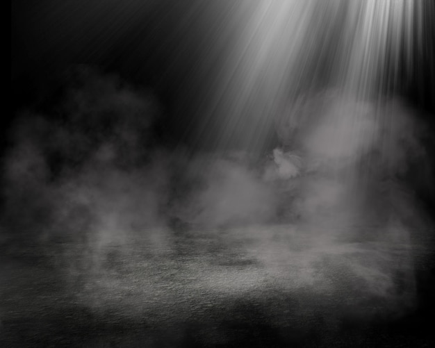 Rendering 3d di un interno di una stanza grunge con atmosfera fumosa