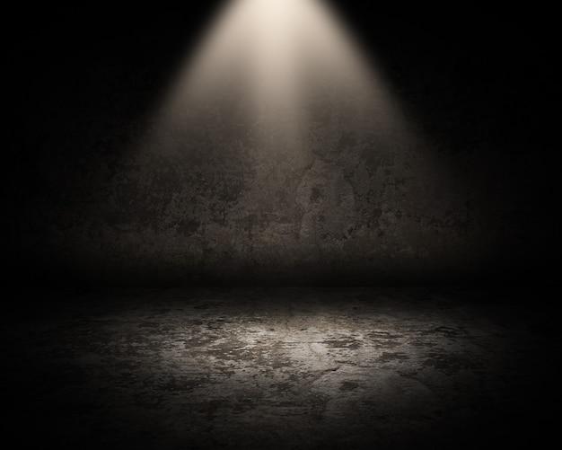 Rendering 3d di un interno di una stanza grunge con riflettori che brillano verso il basso