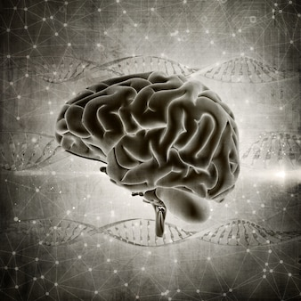 3d render of a grunge style brain image on a dna strands background