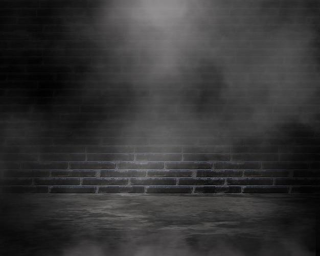 Rendering 3d di una stanza in stile grunge con atmosfera nebbiosa