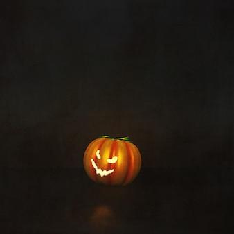 Rendering 3d di uno sfondo di halloween con la zucca in interni grunge