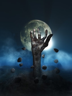 3d render of an halloween concept with zombie hand erupting out of the ground
