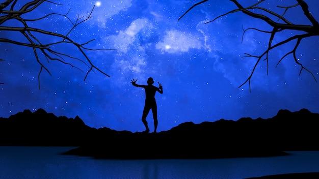 Rendering 3d di un paesaggio di halloween con zombie contro il cielo spaziale