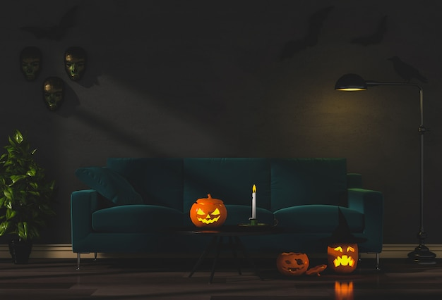 3d render of halloween party in living room and pumpkins