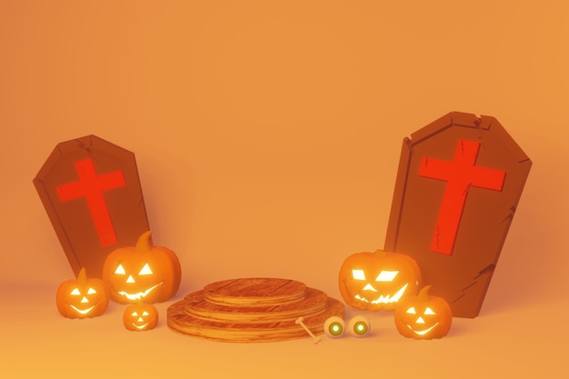 3d render of halloweenpodium for celebrate festival and autumn