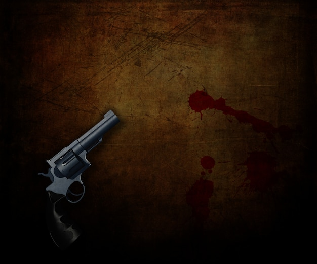 3d render of a handgun on a grunge background with blood splatters