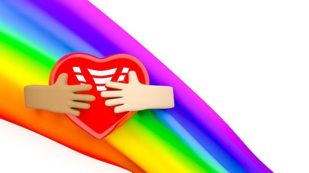 3d визуализация руки, держащие сердце с радугой позади на белом фоне