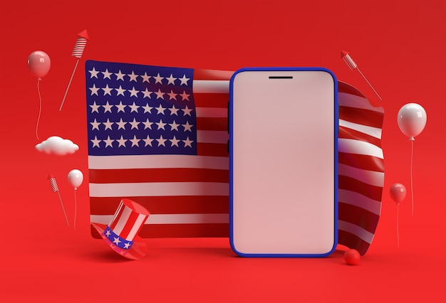 3d render happy 4th of july usa independence day and smartphone mockup american flag.