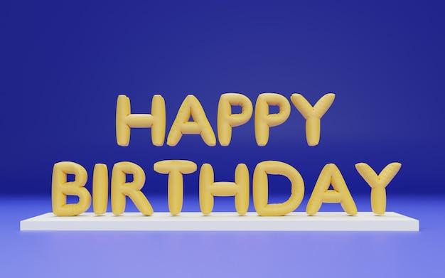 3dレンダリングお誕生日おめでとうホイル風船の手紙