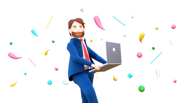 3d render of happy businessman character holding laptop.