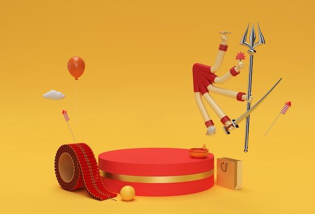 ディスプレイ製品の広告デザインのための最小限の表彰台シーンの3dレンダリングハッピードゥルガープジャーシーン。