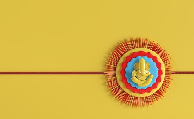 3dレンダリングハッピーラクシャバンダンのお祝い。インドのお祭りの美しい伝統的なラキデザインの背景。