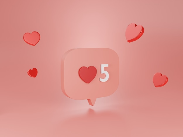 3d 렌더링 심장 아이콘입니다.