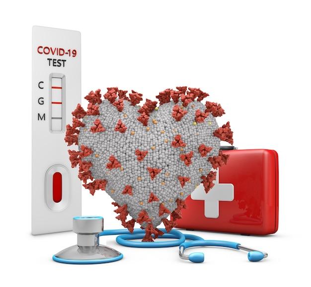 3d 렌더링 심장 모양의 코로나 바이러스 테스트, 응급 처치 키트 및 흰색 배경에 청진 기