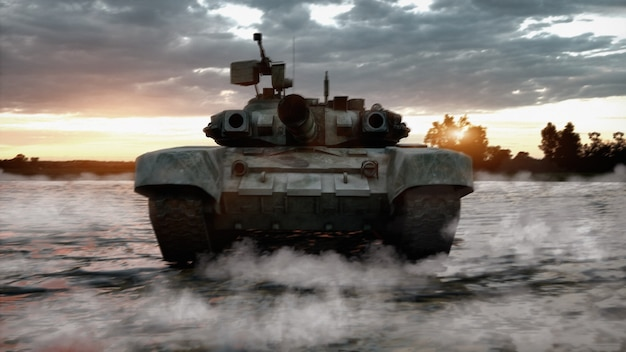 3d render heavy military tank driving through the water in the field of battle